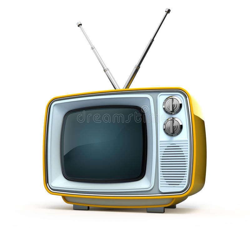 Download Retro style TV stock illustration. Image of media, metal - 14346372