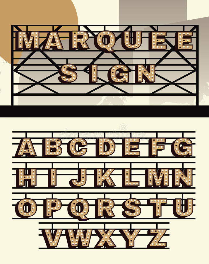 Retro style vector Marquee sign letters. Marquee sign letter alphabet collection with background royalty free illustration