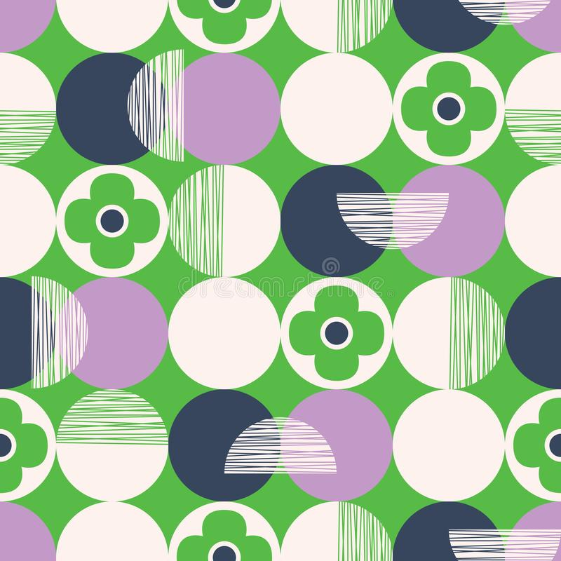 Retro Vector Seamless Pattern with Textured Circles and Abstract Flowers on Green Background. Fresh Geometric Florals. Retro Style Vector Seamless Pattern with royalty free illustration