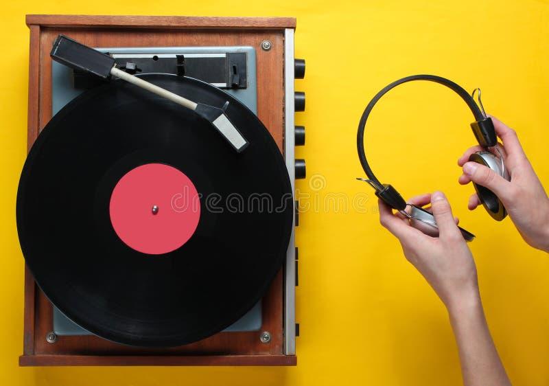 Retro style, vinyl record player stock photo