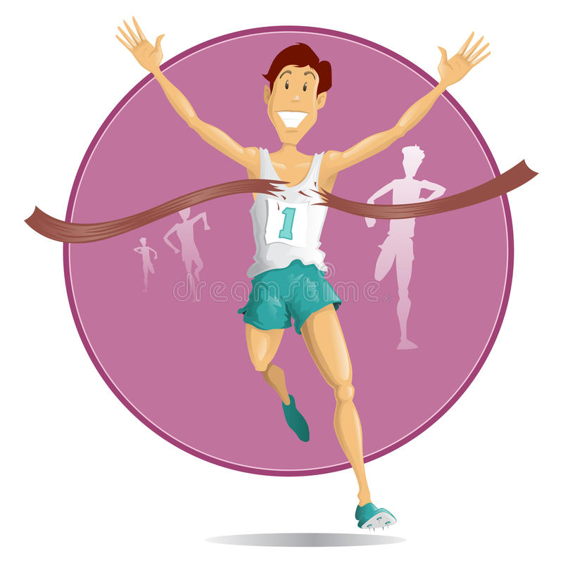 Retro Style Winning Athlete vector illustration