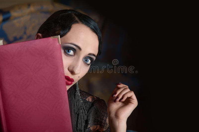 Download Retro Style Woman With Menu Book (looking Out) Stock Image - Image: 24931787