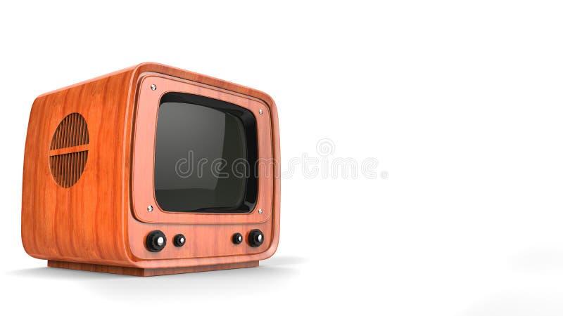 Retro style wood TV set - on white. Background vector illustration