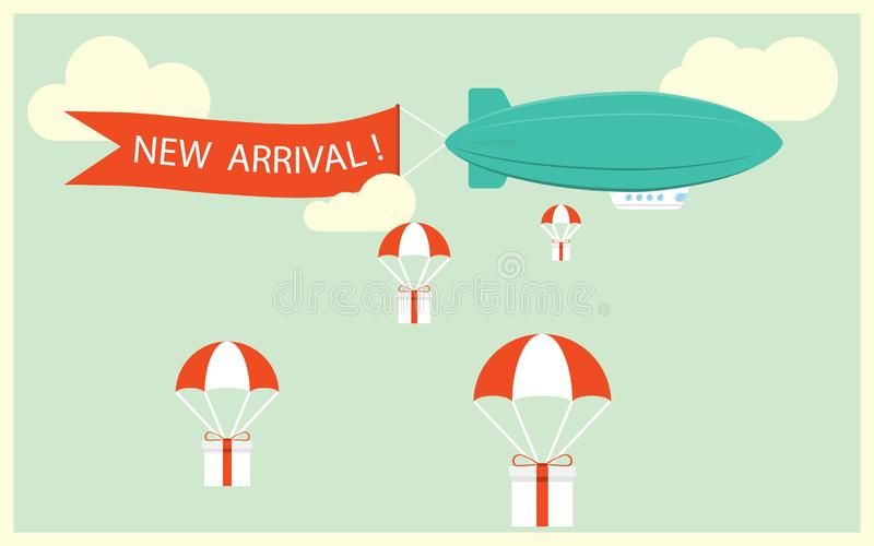 Retro styled airship with the ribbon and text new arrival and gifts for potential customers. Cool set of vector helium ad blimp ai vector illustration