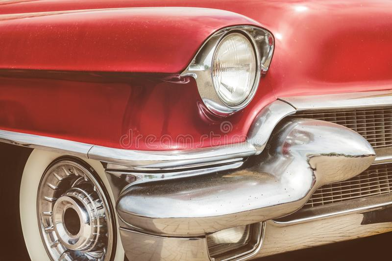 Front view of a red fifties American car stock images