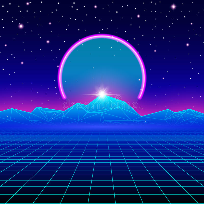 Retro styled futuristic landscape with neon arc. And mountains stock illustration