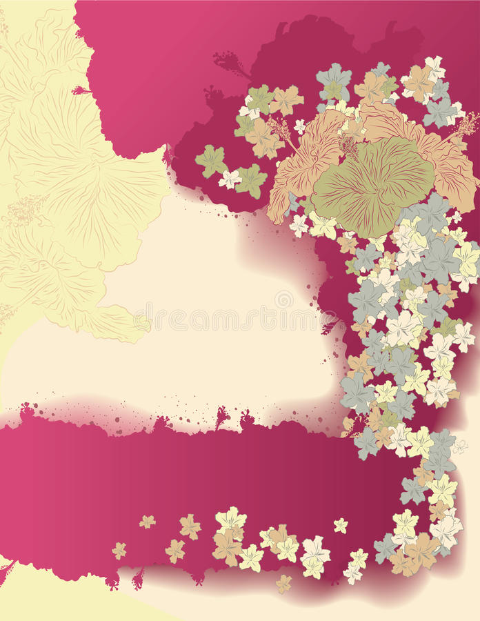 Retro styled hand drawn Hibiscus page layout vector illustration