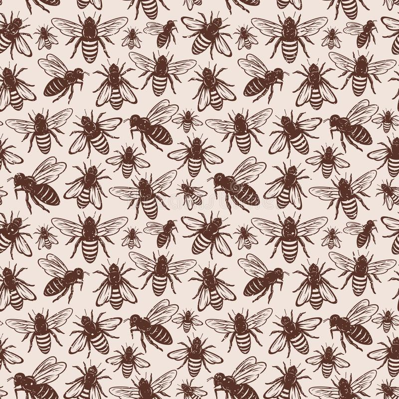 Retro styled honey bee seamless pattern or background royalty free illustration