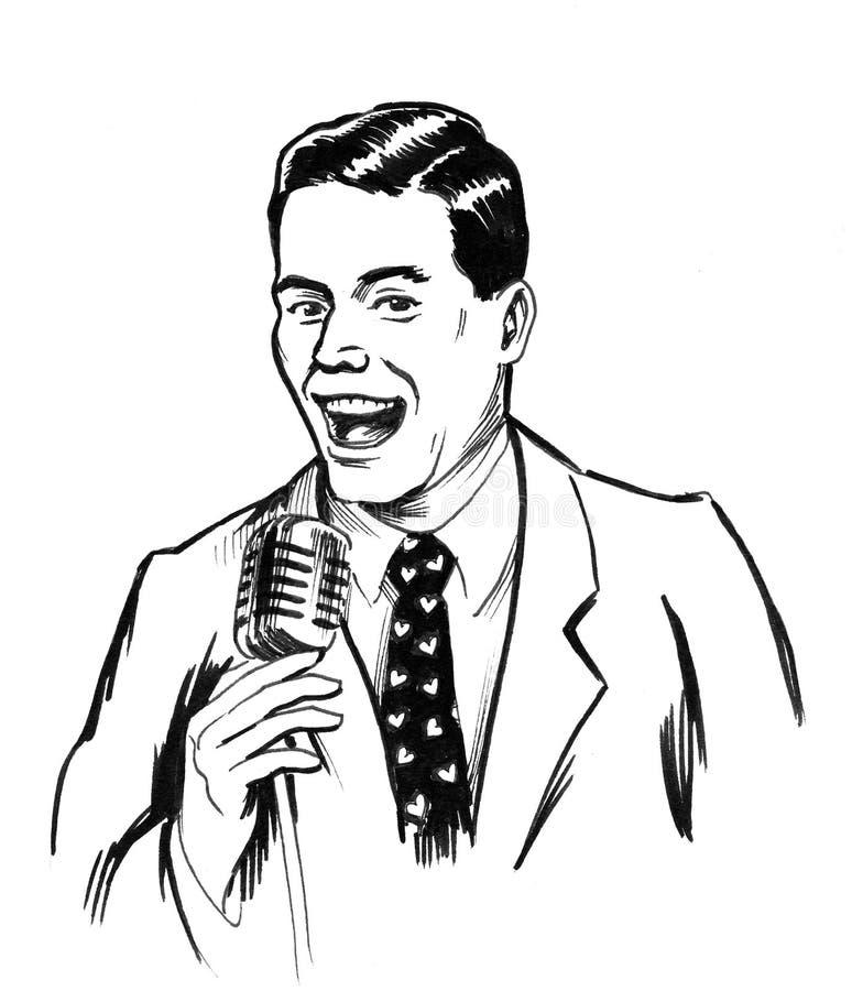 Retro singer vector illustration