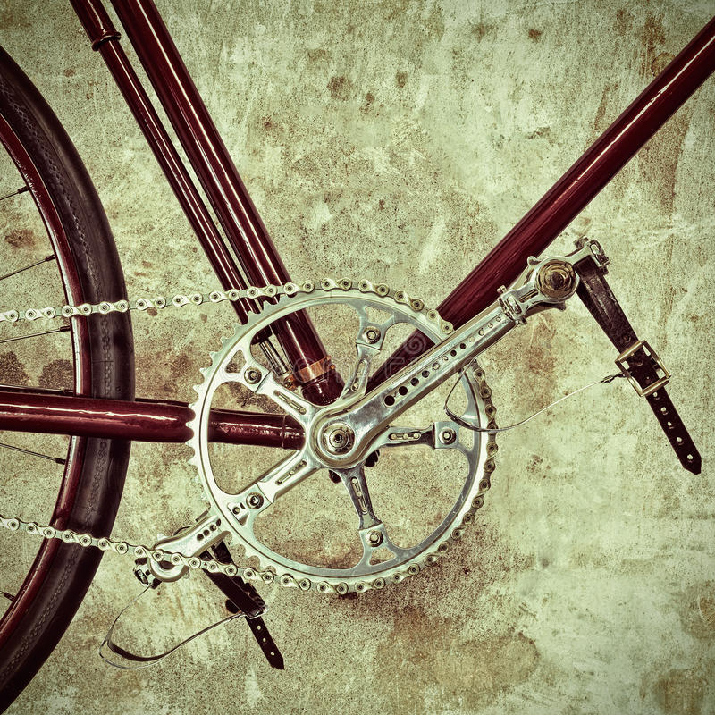Retro styled image of an old bicycle stock photos