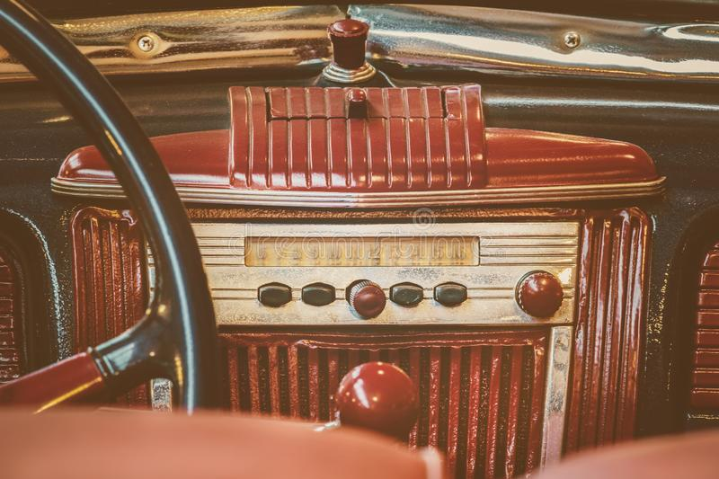Retro styled image of an old car radio stock photography