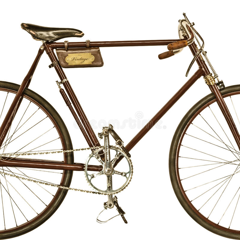 Retro styled image of an old racing bicycle. Retro styled image of an old restored racing bicycle isolated on a white background stock photography