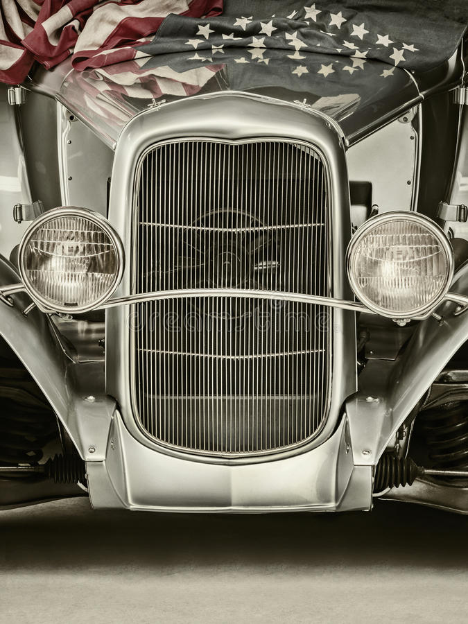 Retro styled image of a usa classic car stock photo