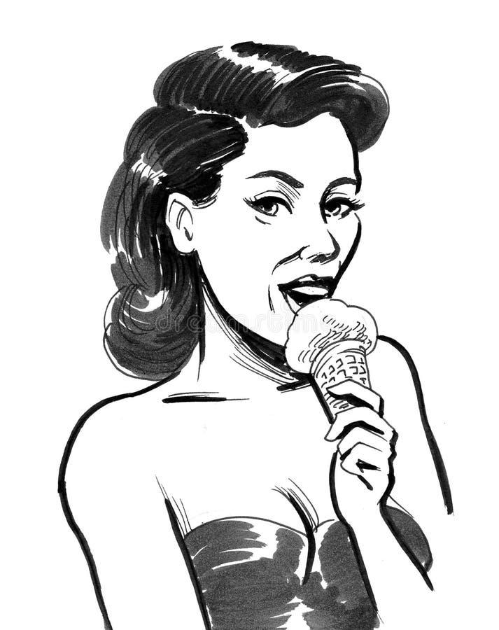 Woman eating ice cream royalty free illustration