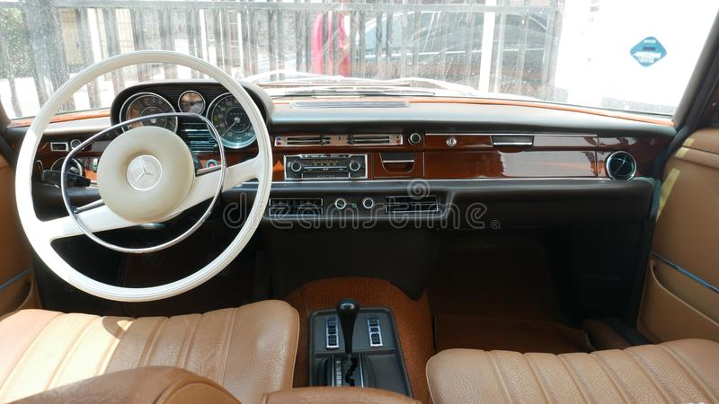 Retro styled interior of a Mercedes-Benz 289SE, Lima royalty free stock photo