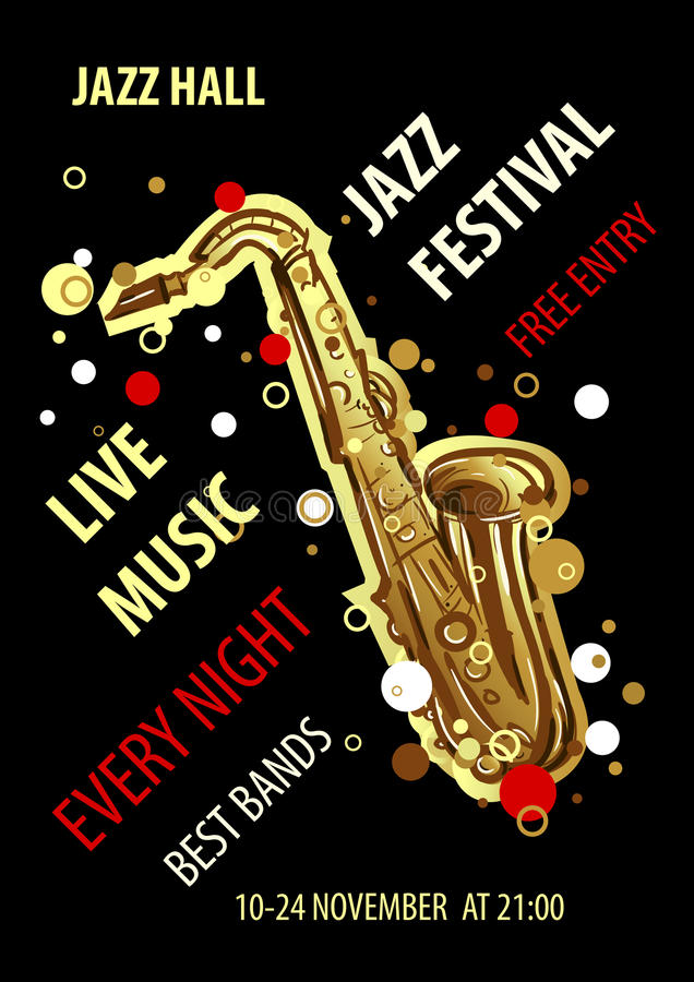 Retro styled Jazz festival Poster. Abstract style vector illustration. royalty free illustration