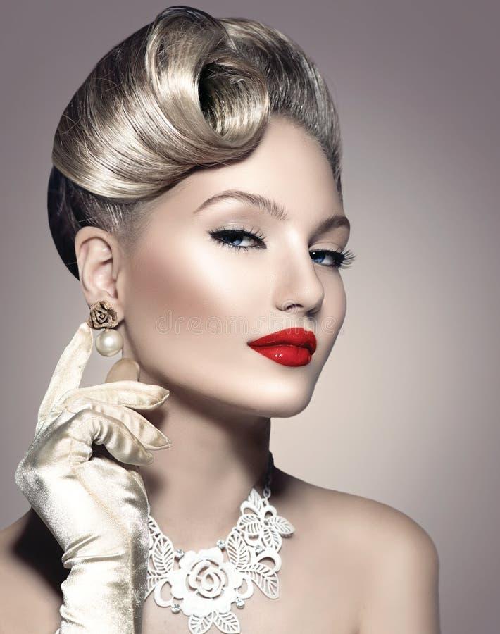 Retro Styled Lady Portrait royalty free stock photography