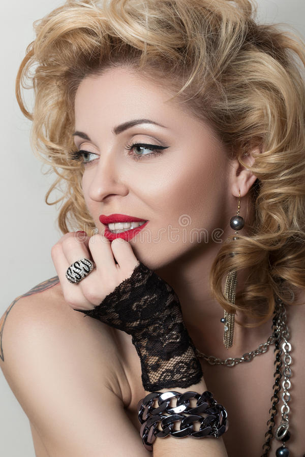 Retro styled portrait of adult woman stock image