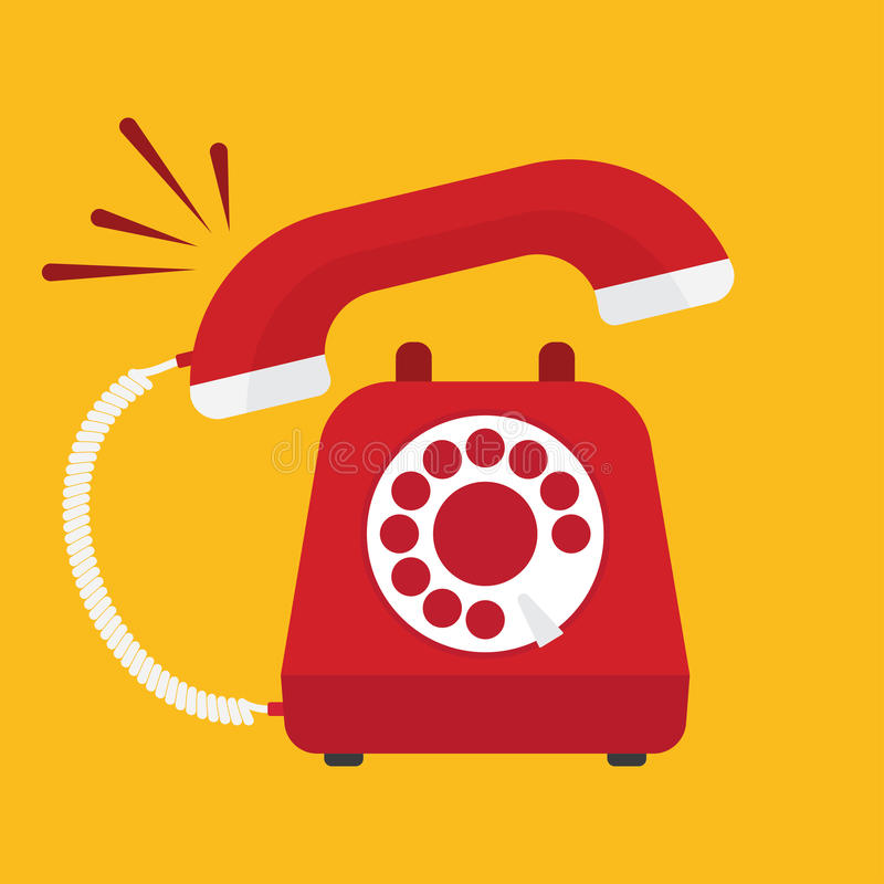 Retro styled red telephone ringing royalty free illustration