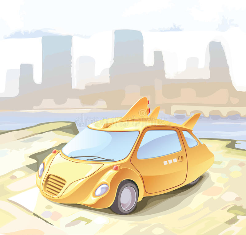 Retro-styled small city car. Concept of a retro-styled city car. A funky futuristic cab royalty free illustration