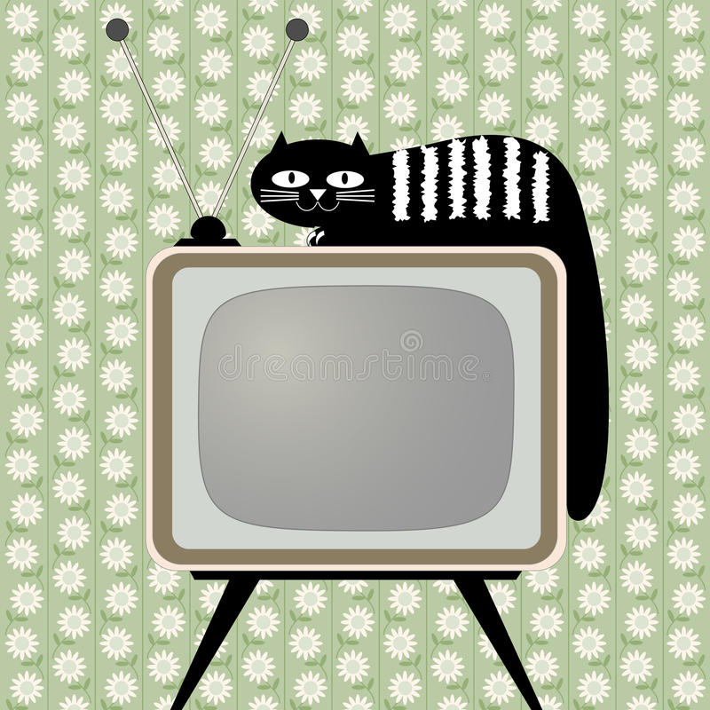 Download Retro-styled Television Receiver With Cat Stock Vector - Image: 26438259