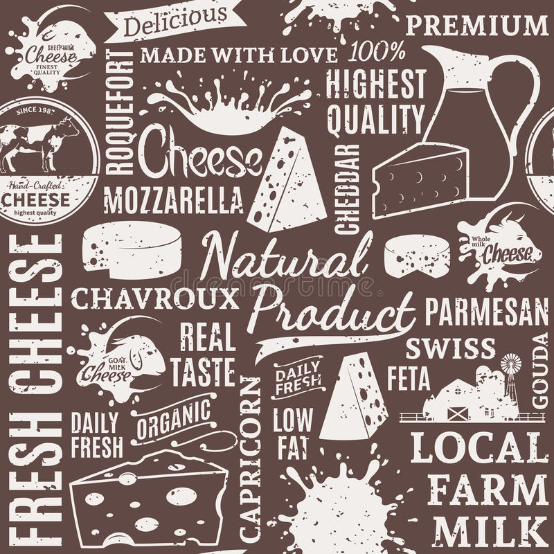 Retro styled typographic vector cheese seamless pattern or background. Cheese icons and design elements for groceries, agriculture stores, packaging and vector illustration
