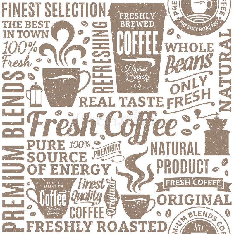 Retro styled typographic vector coffee shop seamless pattern or. Background. Mugs, beans and coffee equipment icons for coffeehouse, espresso bar, restaurant royalty free illustration