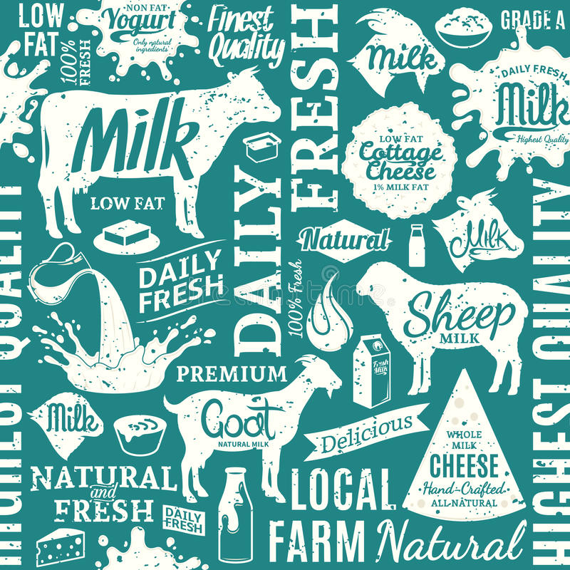 Retro styled typographic vector milk product seamless pattern or. Background. Dairy product icons collection for groceries, agriculture stores, packaging and royalty free illustration