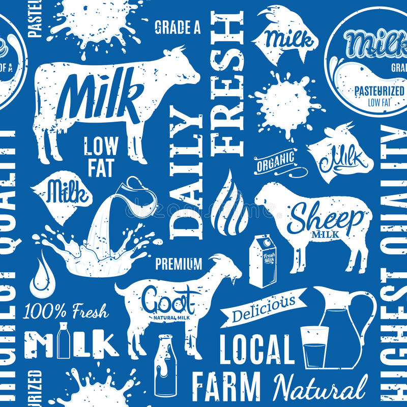Retro styled typographic vector milk seamless pattern or background. Milk icons collection for groceries, agriculture stores, packaging and advertising vector illustration