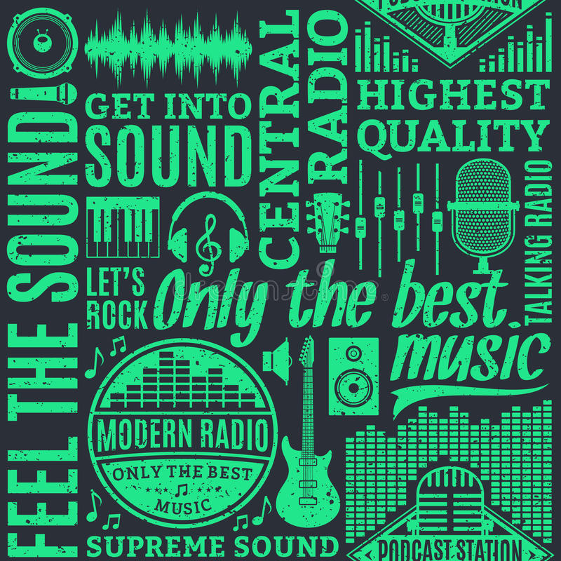 Retro styled typographic vector radio seamless pattern royalty free illustration