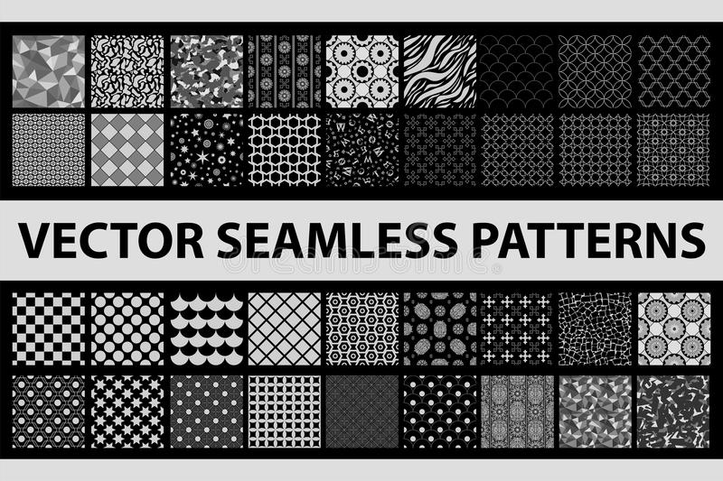Retro styled vector seamless pattern pack: abstract, vintage, technology and geometric. 36 black and white elements stock illustration