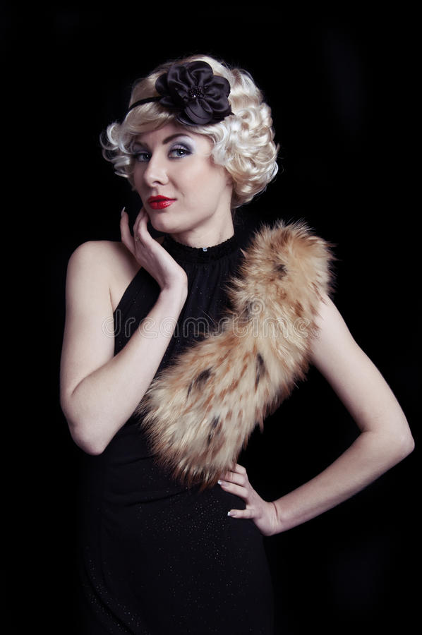Download Retro-styled Woman With Boa Stock Image - Image: 24301859