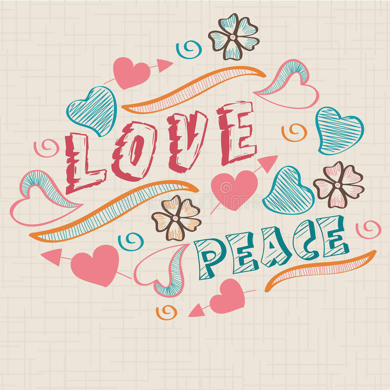 Retro stylish text with flowers and hearts. Retro stylish text of Love Peace with flowers and hearts on seamless background vector illustration