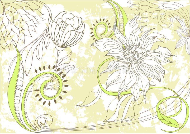 Retro stylized floral background royalty free illustration