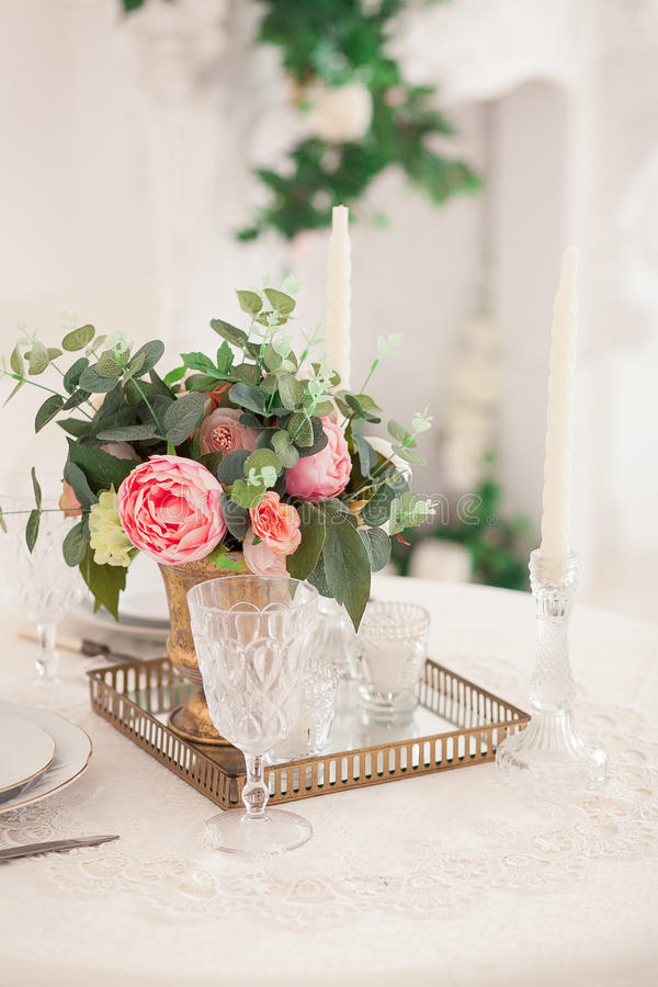 Retro stylized photo of wedding table setting in rustic style royalty free stock images