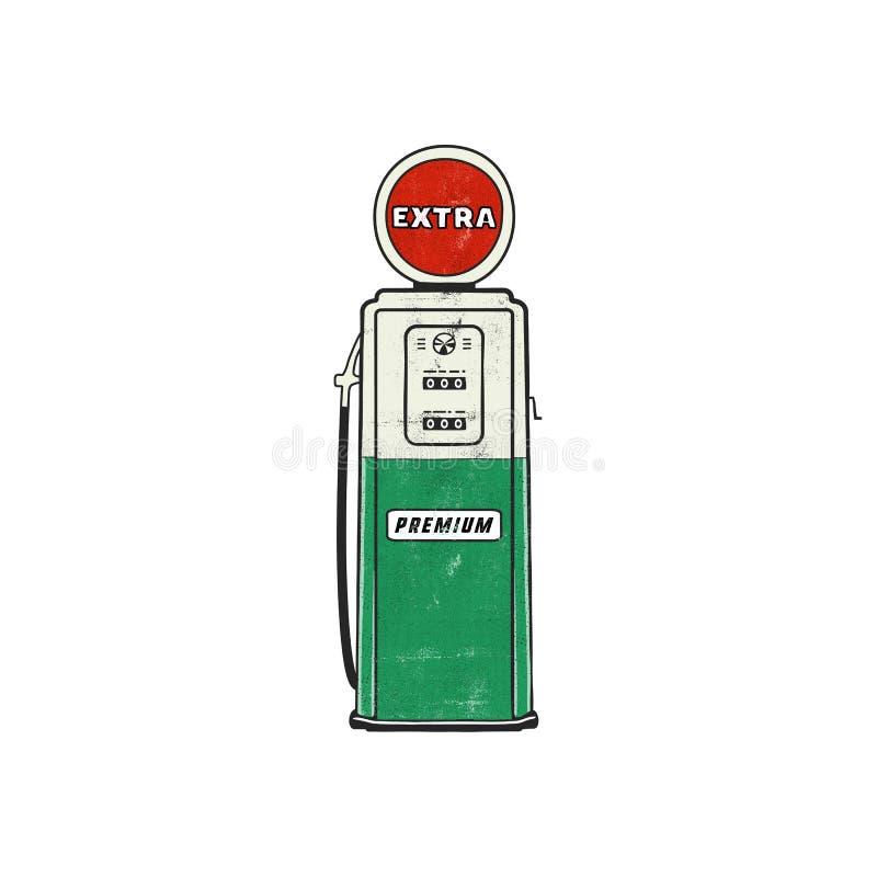 Retro stylowa Benzynowej staci pompy grafika Rocznika ręka rysujący projekt w zakłopotanym stylu Unikalna benzyny pompy ilustracj ilustracja wektor