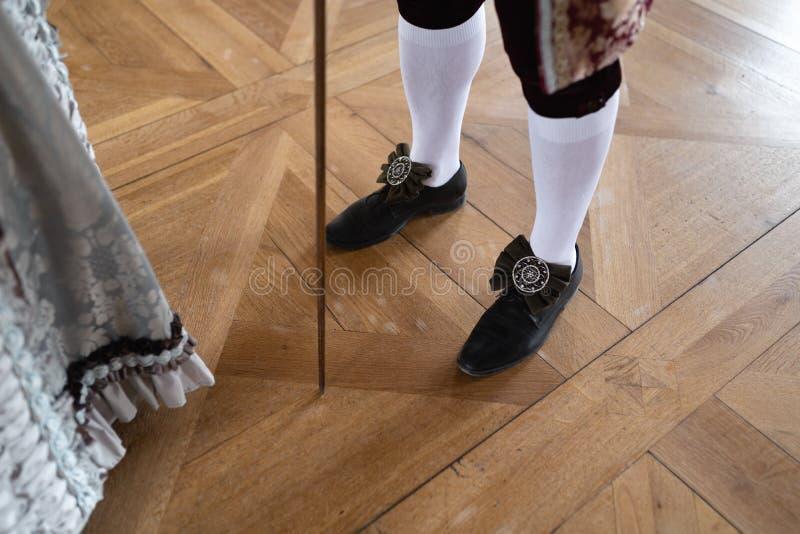Retro stylowa królewska średniowieczna piłka - Majestatyczny pałac z wspaniałymi ludźmi ubierał w królewiątku i królowa fotografia royalty free