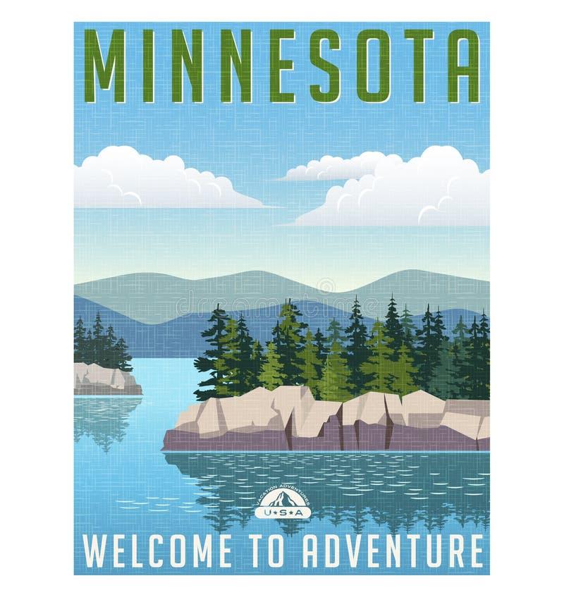 Retro stylowa podróż plakatowy Stany Zjednoczone, Minnestoa ilustracja wektor