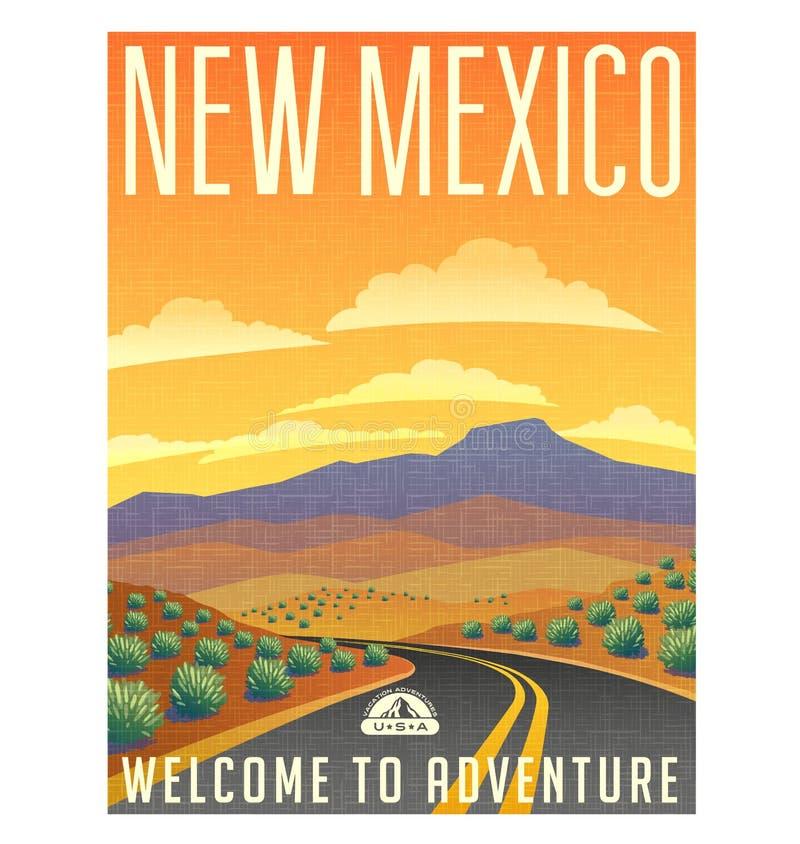 Retro stylowa podróż plakatowy Stany Zjednoczone, Nowy - Mexico pustynia royalty ilustracja