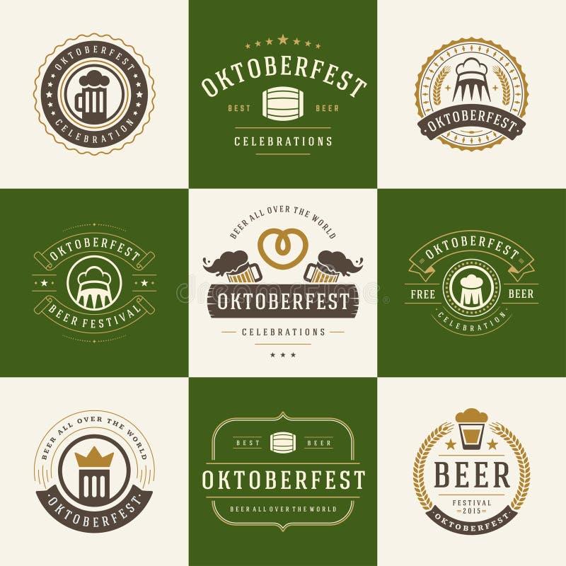 Retro stylowe etykietki, odznaki i logowie ustawiający, royalty ilustracja