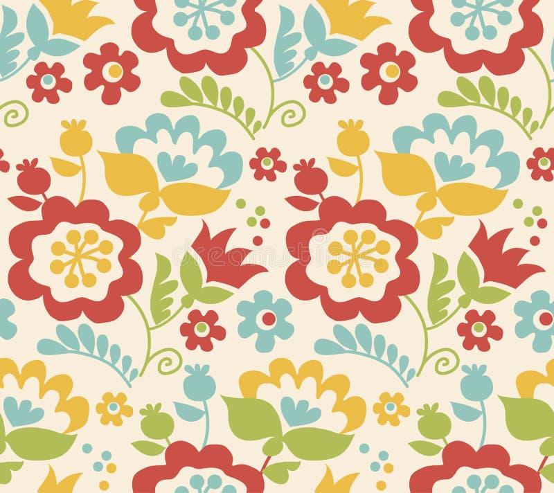 Retro stylowego lato kwiatu bezszwowy wzór ilustracja wektor