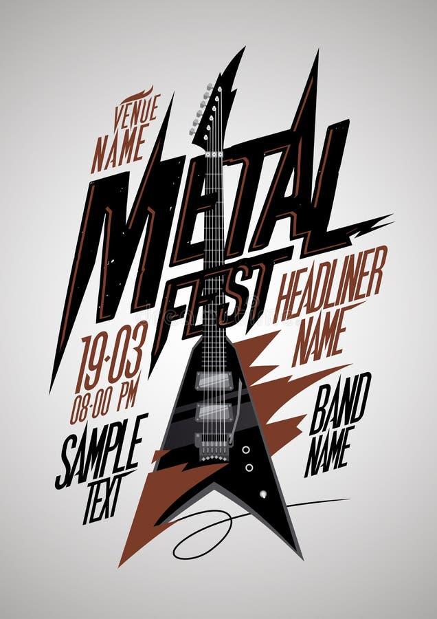 Retro stylowego metalu fest plakatowy projekt z v stylu electro gitarą royalty ilustracja