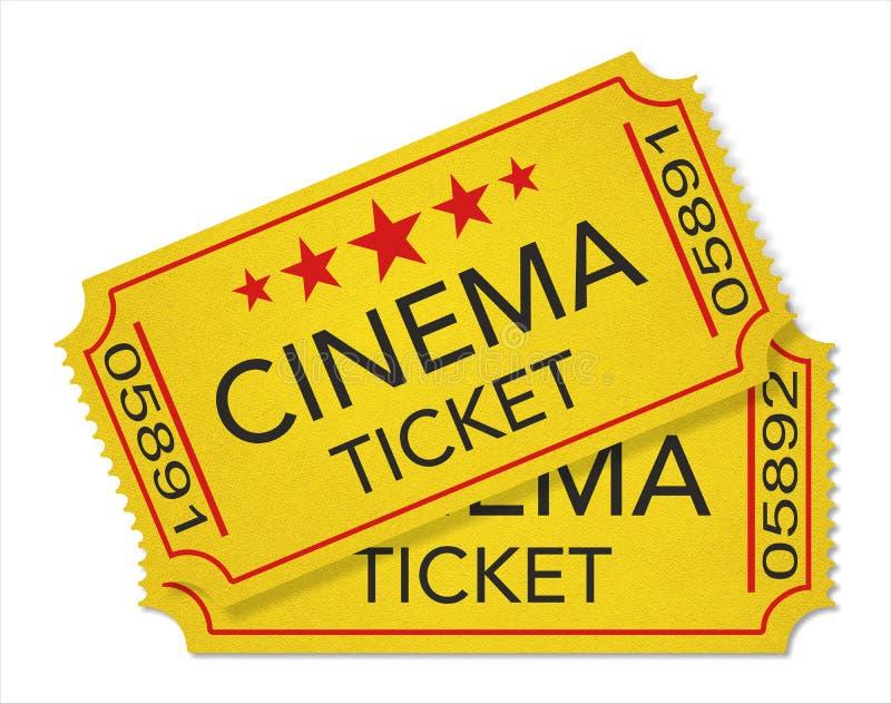 Retro stylowi kinowi bilety odizolowywający na bielu royalty ilustracja