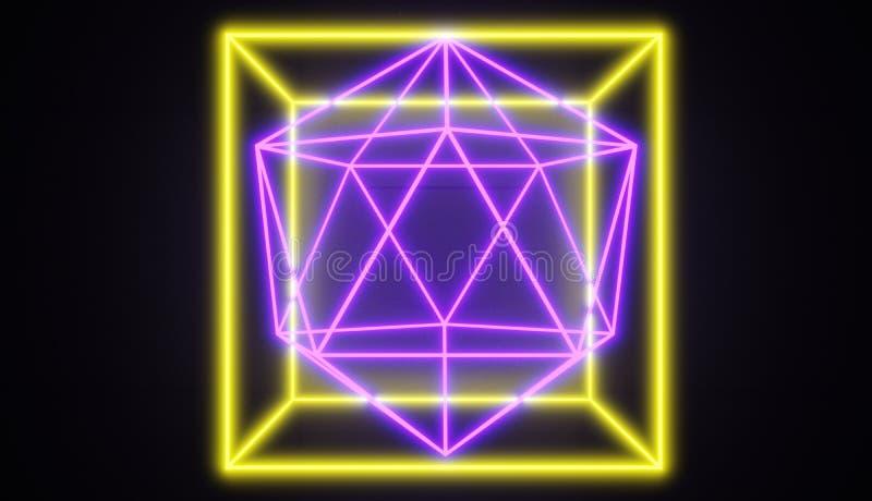 Retro stylowi neonowi rozjarzeni geometryczni kształty, jeden wśród inny ilustracja wektor