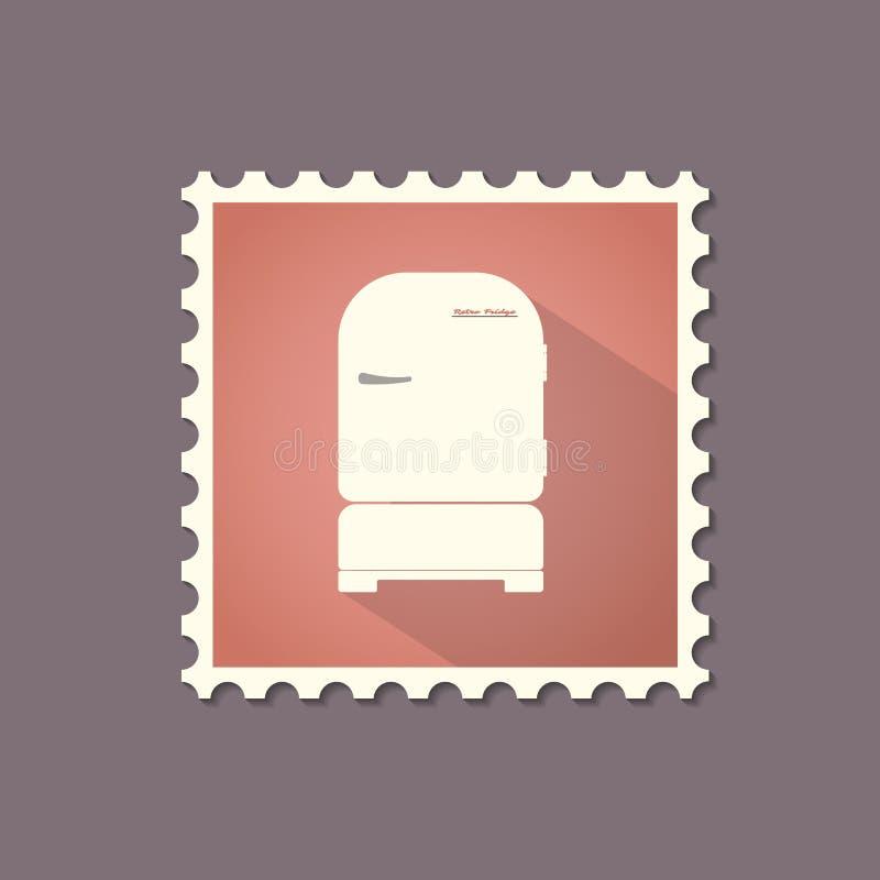 Retro stylowy chłodziarki mieszkania znaczek z cieniem ilustracji