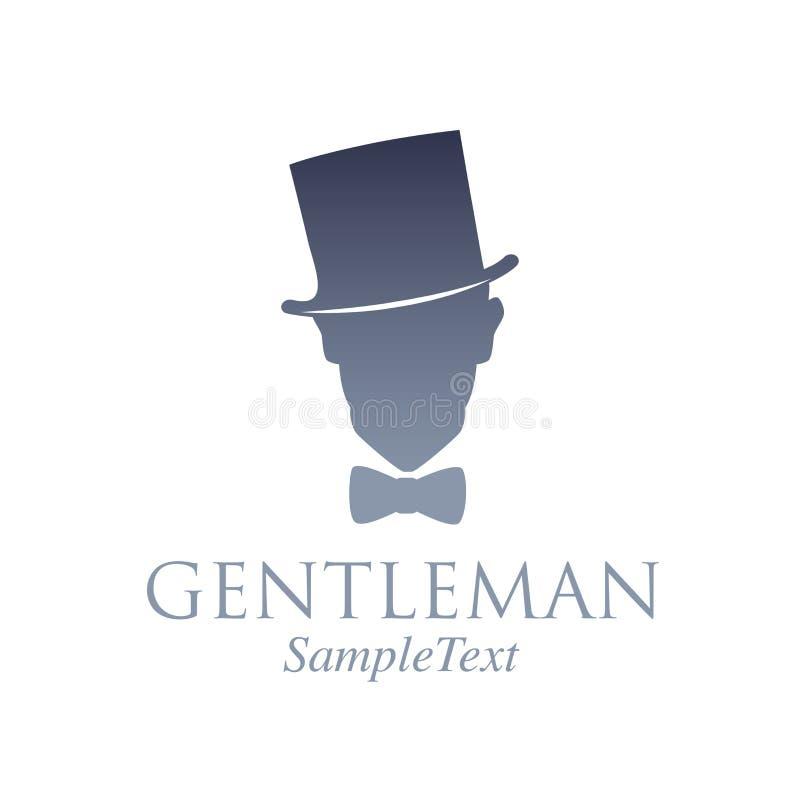 Retro stylowy emblemat Sylwetka dżentelmen z odgórnym kapeluszem i łęku krawatem royalty ilustracja