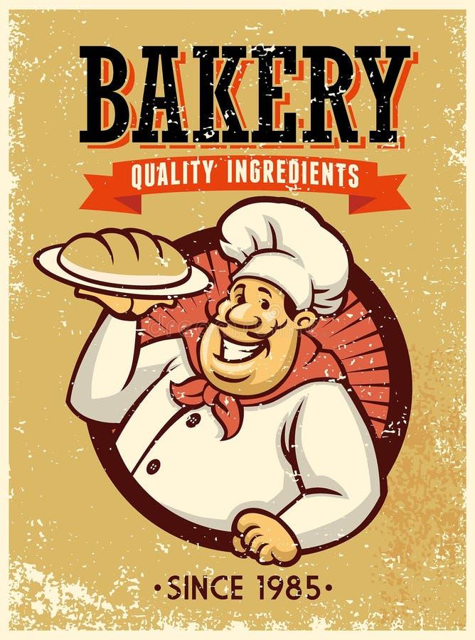 Retro stylowy piekarz przedstawia chleb royalty ilustracja
