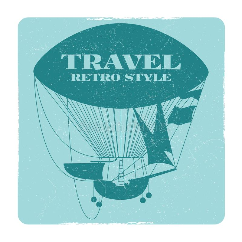 Retro stylowy podróż sztandar z gorące powietrze balonu sylwetką ilustracja wektor