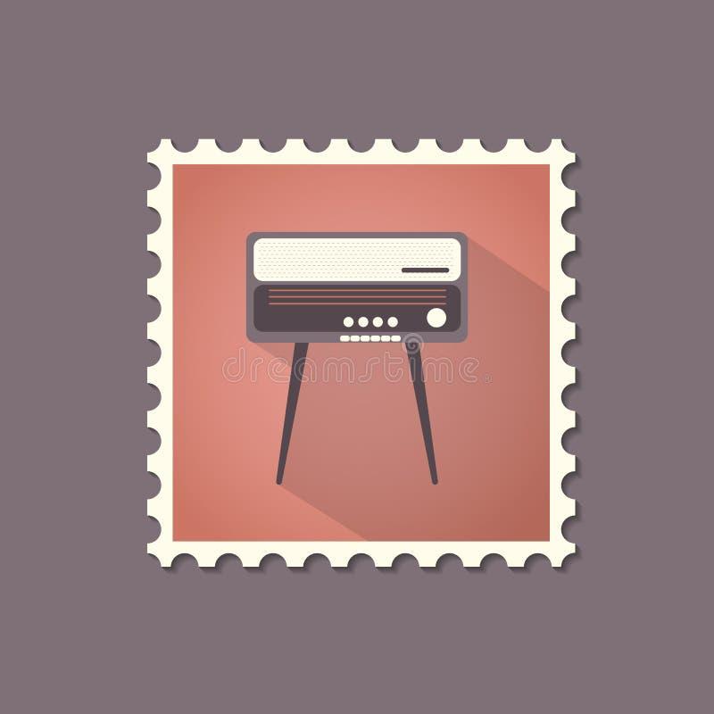 Retro stylowy radiogram mieszkania znaczek z cieniem ilustracji