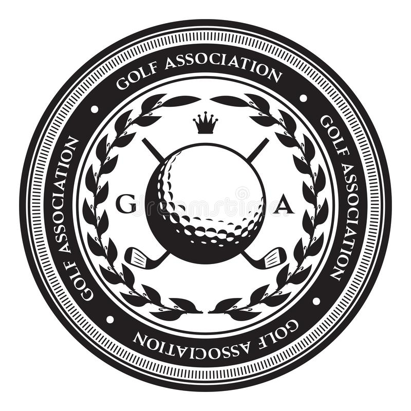 Retro stylowy sporta emblemat z piłką golfową również zwrócić corel ilustracji wektora ilustracja wektor